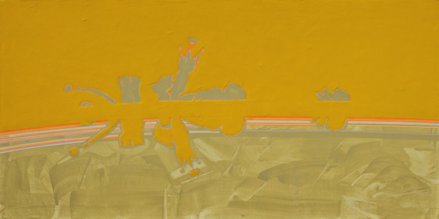 Yana BYSTROVA, Ambiguous landscapes series - 2012, 100 x 200 cm, Acrylic and phosphorescent ink on canvas